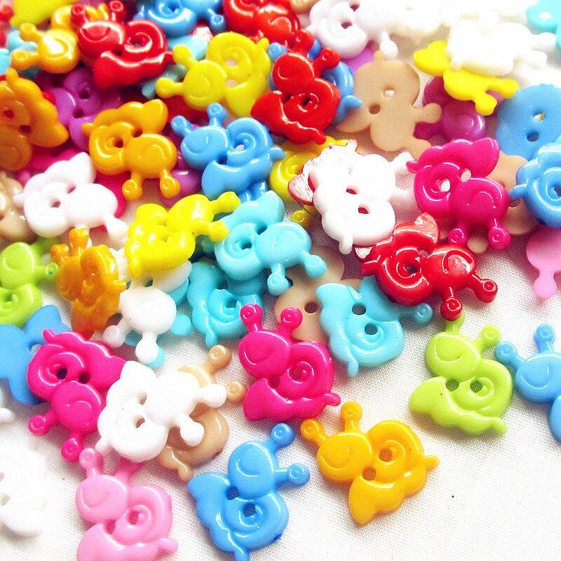 Suoja animales caracoles 2 agujeros 50 Uds forma botón colorido 13x15mm botones de plástico para coser accesorios de ropa