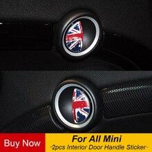 2 pièces/lot drapeau intérieur porte poignée autocollants décalcomanie voiture style pour Mini Cooper R55 R56 R60 R61 F54 F55 F56 F60 Clubman Countryman