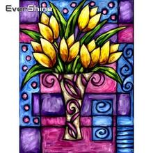 EverShine Diamond Painting Full Square Flowers Diamond Embroidery Bead Picture Rhinestones Diamond Mosaic Tulip Art Gift