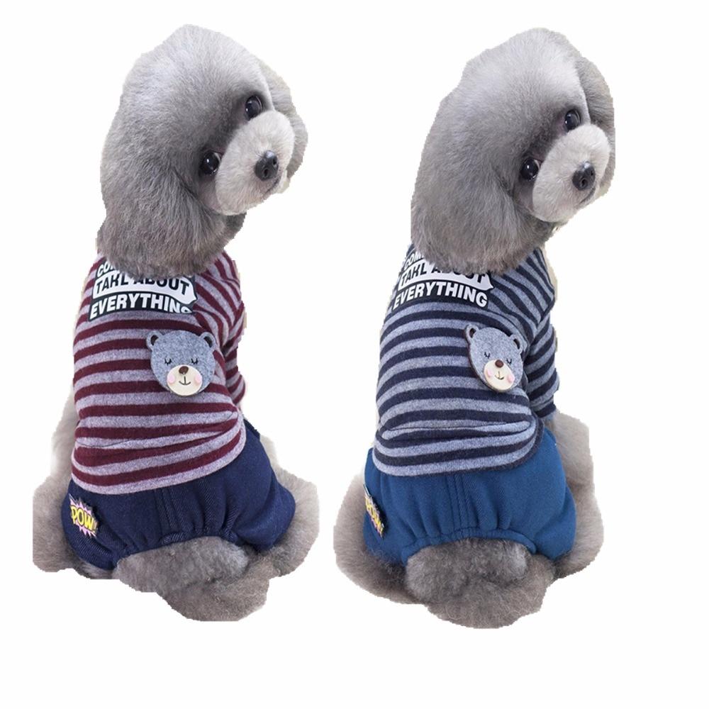 FA3 Nieuw Winter Huisdier 4 Benen Beer Gestreepte Hond Jumpsuit kleding Warme Jas broek dikke kleding voor Puppy Hond Katten Chihuahua