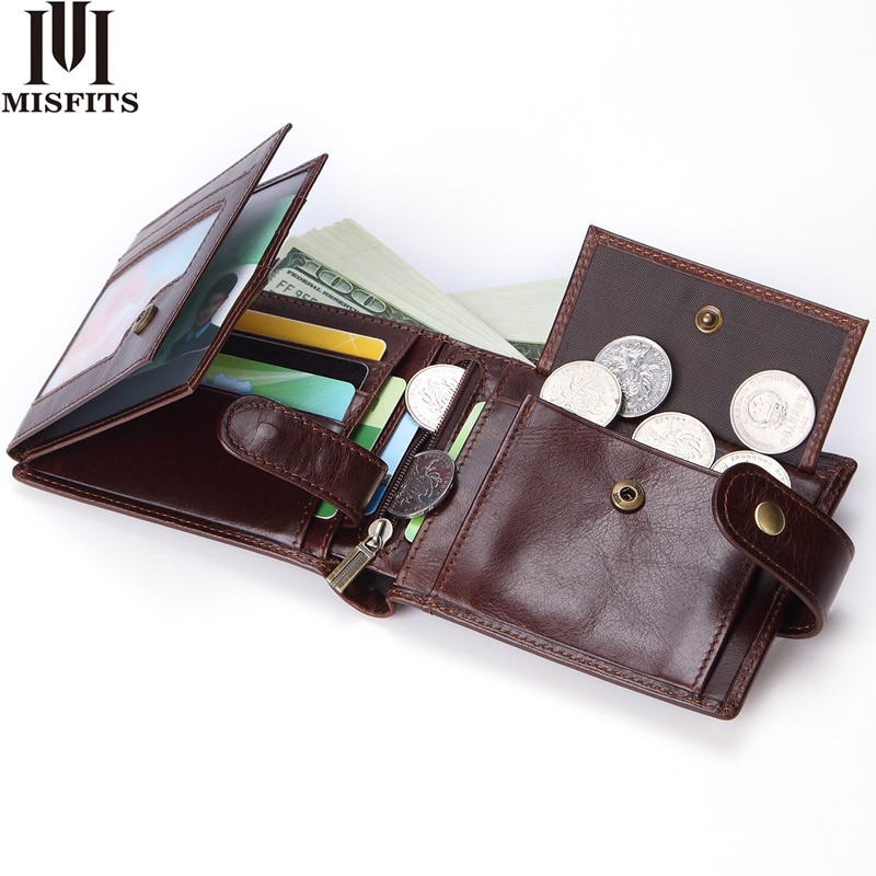 MISFITS cowhide men short wallet brand fashion purse with coin pocket 100% genuine leather credit card holder money bag for male