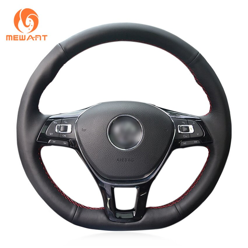Simplemente lee negro cuero genuino cubierta de volante para Volkswagen VW Golf 7 (VII) Polo Arteon Caddy Jetta Passat Alltrack Sharan