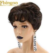 Peluca sintética de fibra de alta temperatura de onda Natural corta marrón oscuro + 2 # de Ebingoo para mujeres chicas con flequillo