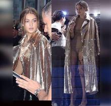 2018 automne et hiver nouveau style de mode moderne montrer célébrité pailletée lâche x-long sexy femmes en gros