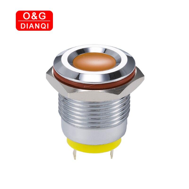 Flash LED piloto 16mm luz de indicador intermitente de Metal 6v 12v 220v Led impermeable, lámpara para señal de piloto con cable