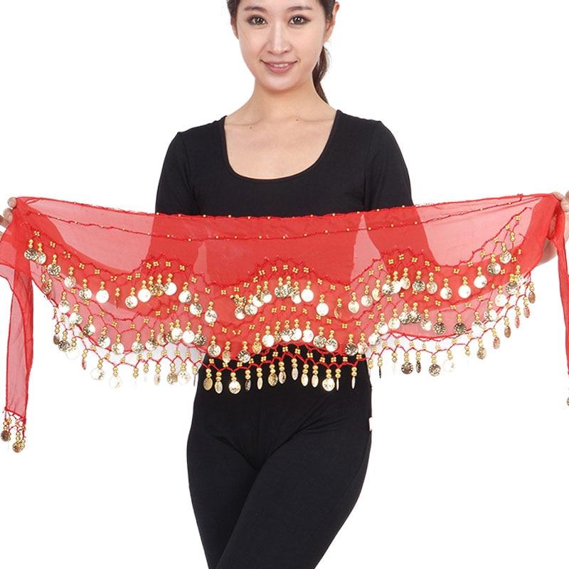 2018 New Women Special Offer Belly Dance Belt Three Layer Wave 128 Coin Genuine Chiffon Scarfs Skirt Hip Wrap Waist Chain