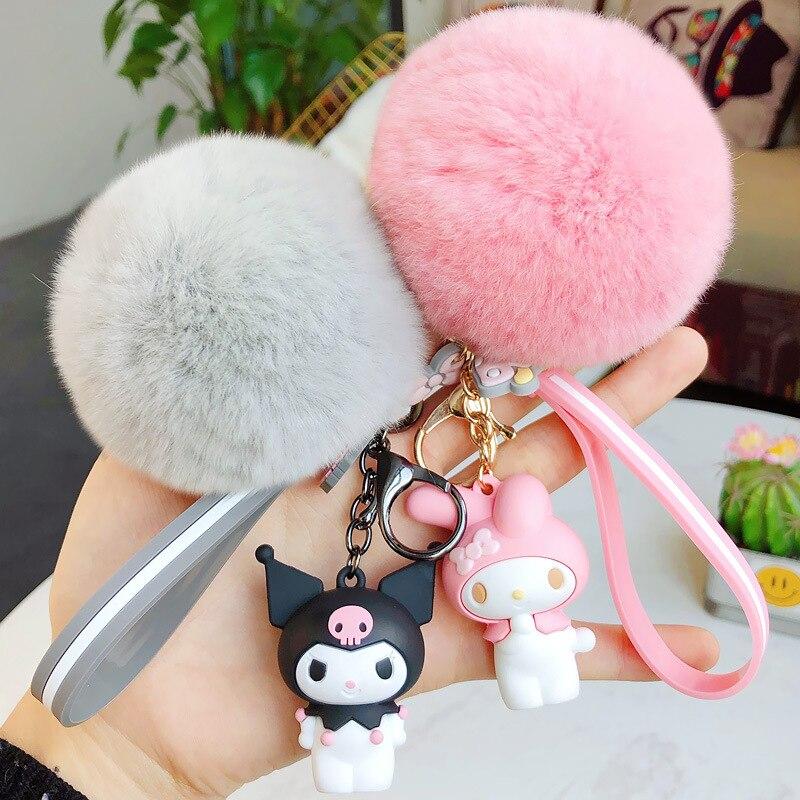 Lindo Anime My Melody kuromi llavero de muñeca colgante de moda para mujer chica llavero con bolsa de adorno joyería llavero de coche