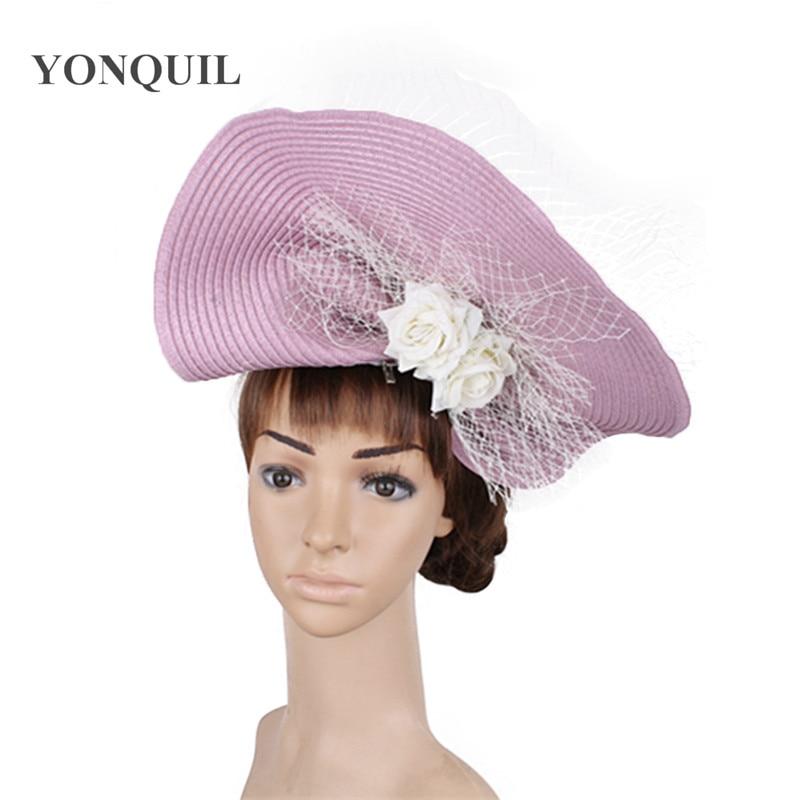 wedding headbands Paper knitting Cocktail Church fascinator hats women silk flower fedora caps with veils derby headwear SYF451