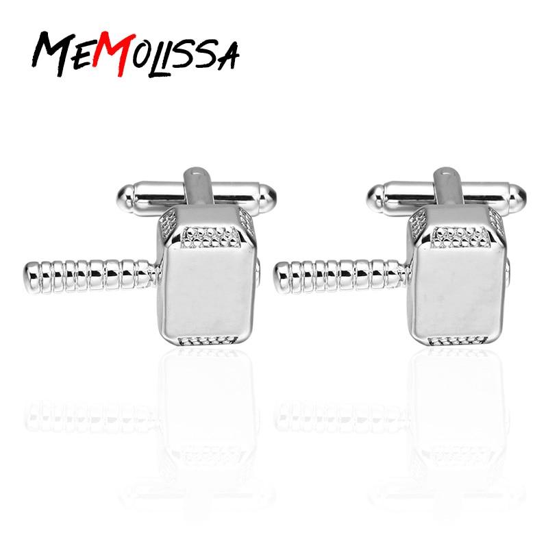 MeMolissa 3 pairs Quake Huammer cufflinks copper silver Color Thor Hammer Design Cuff links for Mens shirt jewelry Abotoadura