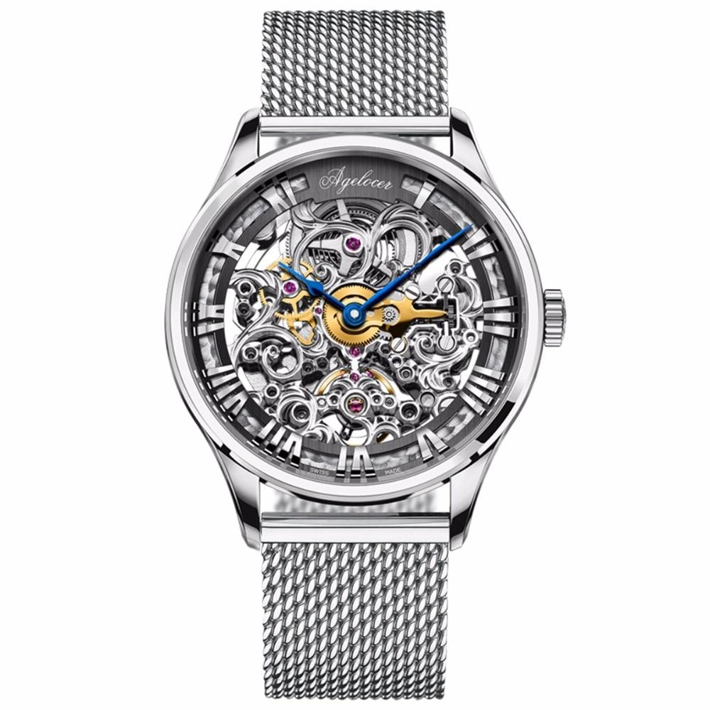 Agelocer أفضل ماركة الساعات الموضة الفاخرة الهيكل العظمي الهاتفي الفولاذ المقاوم للصدأ ساعات أوتوماتيكية الجوف خارج ساعات للرجال 5401