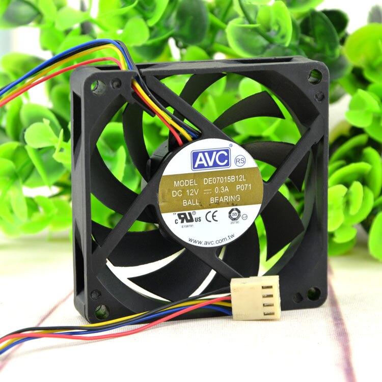 AVC DE07015B12L DC 12V, 0,3 a, 7015 7cm, 70x70x15mm, 70mm, carcasa de ordenador PWM, ventilador de refrigeración de cpu