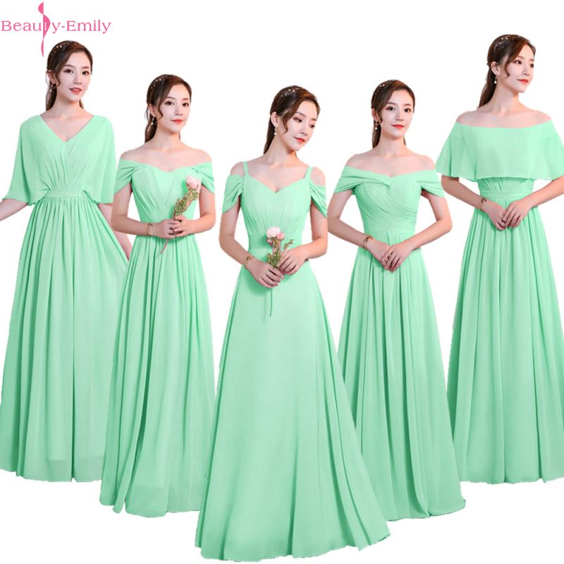 beauty emily a line lace red bridesmaid dresses 2019 long for women wedding party prom women dresses Beauty-Emily Chiffon Green Bridesmaid Dresses 2020 V-neck Lace Up A-line Wedding Party Prom Dresses Formal Dress  Robe De Soiree