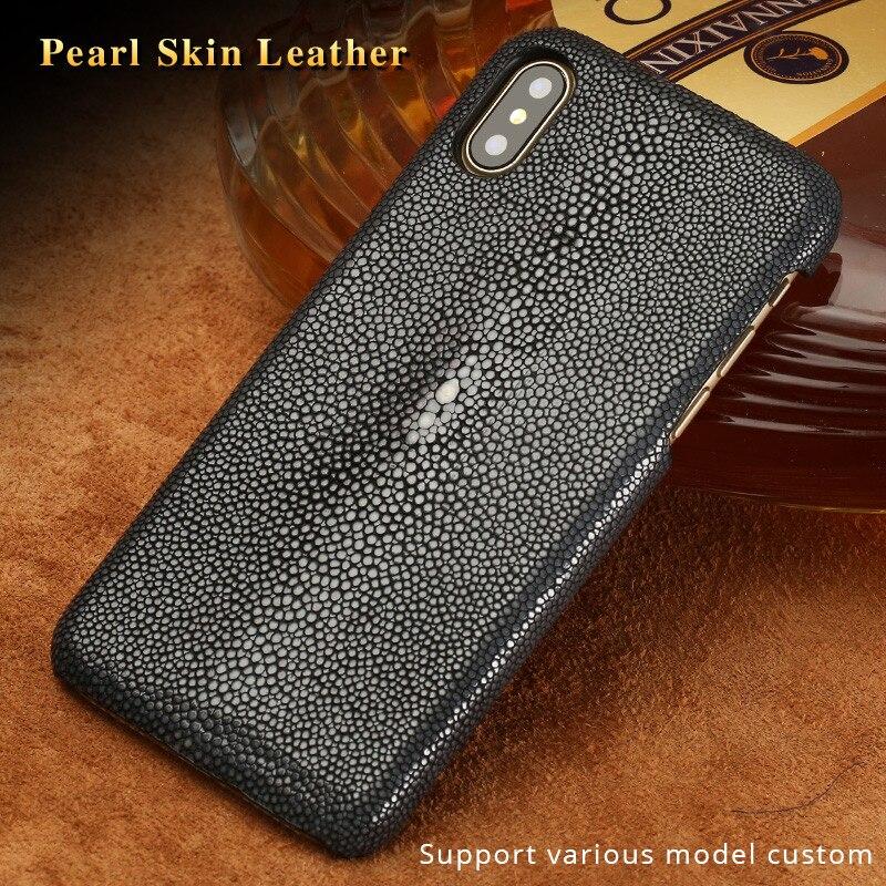 Mantarraya genuina Funda de cuero para iphone 11 11 pro 6 6s 7 7 8plus X XS X MAX XR SE 2020 de cuero de lujo