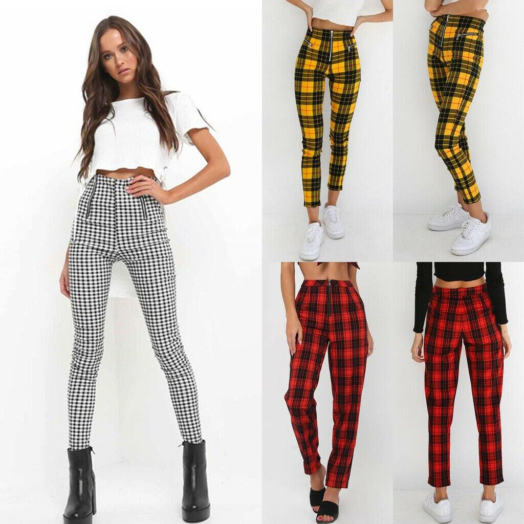 2019 neue Frauen Fashion Hosen Hohe Taille Elastische Zipper Sexy Hose Plaid Casual Hosen