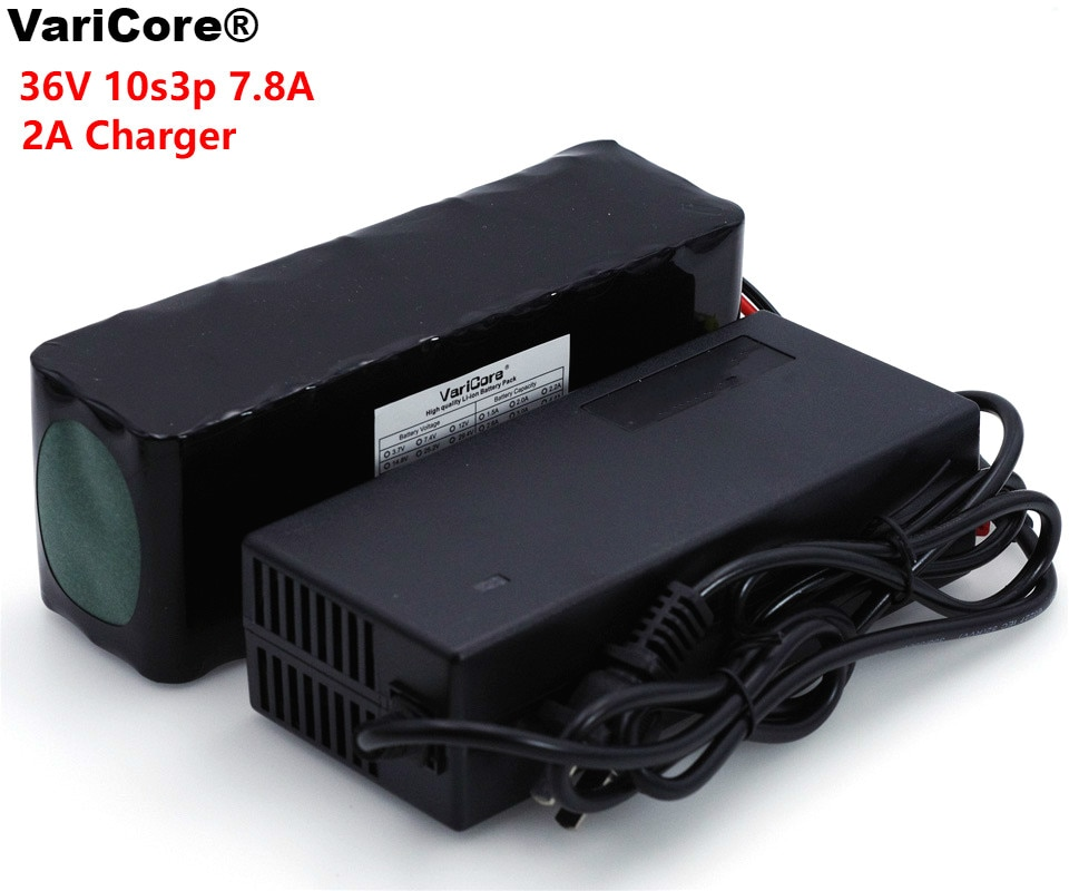 VariCore 36V 7.8Ah 10S3P 18650 pack de batería recargable modificado bicicletas del Vehículo Eléctrico 36V Protección PCB + 2A cargador