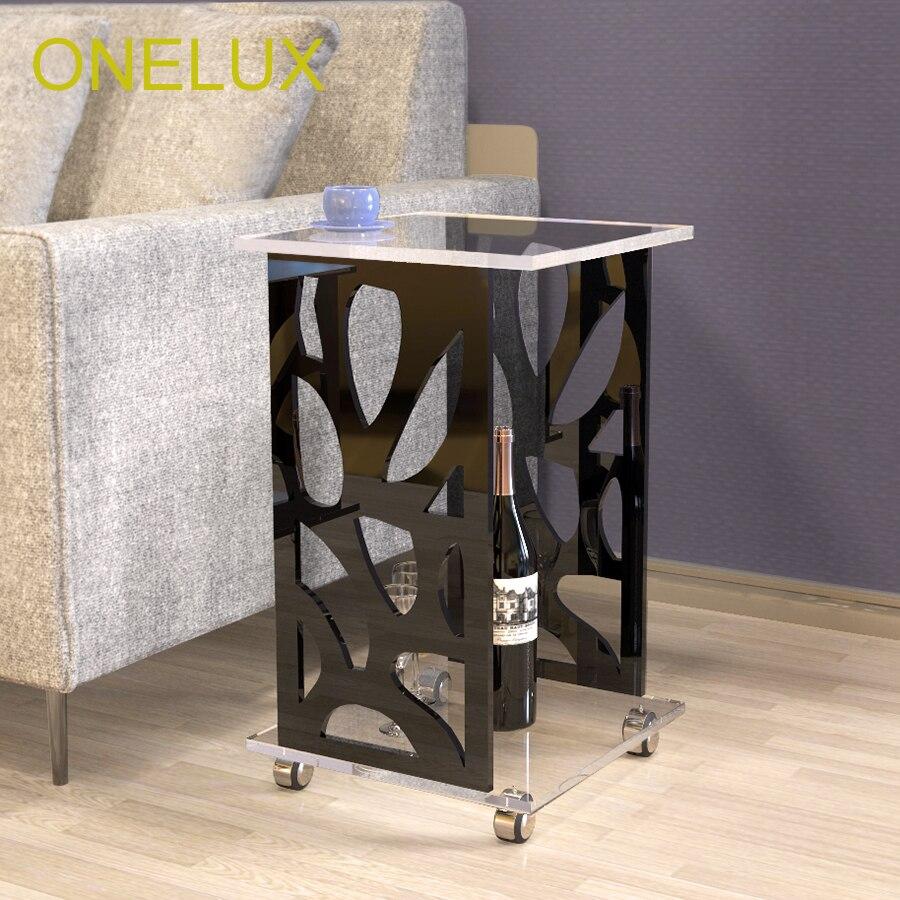 ONELUX محفورة الاكريليك عرضية/أريكة/الجانب/الشاي/مجلة الجدول على عجلات