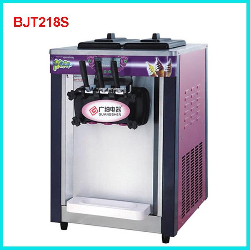 BJT218S Commercial Soft Ice Cream Machine 1800W 220V/50 Hz Ice Cream Maker 18-20L / H 3 Flavors Yogurt Cylinder volume  5.8L * 2