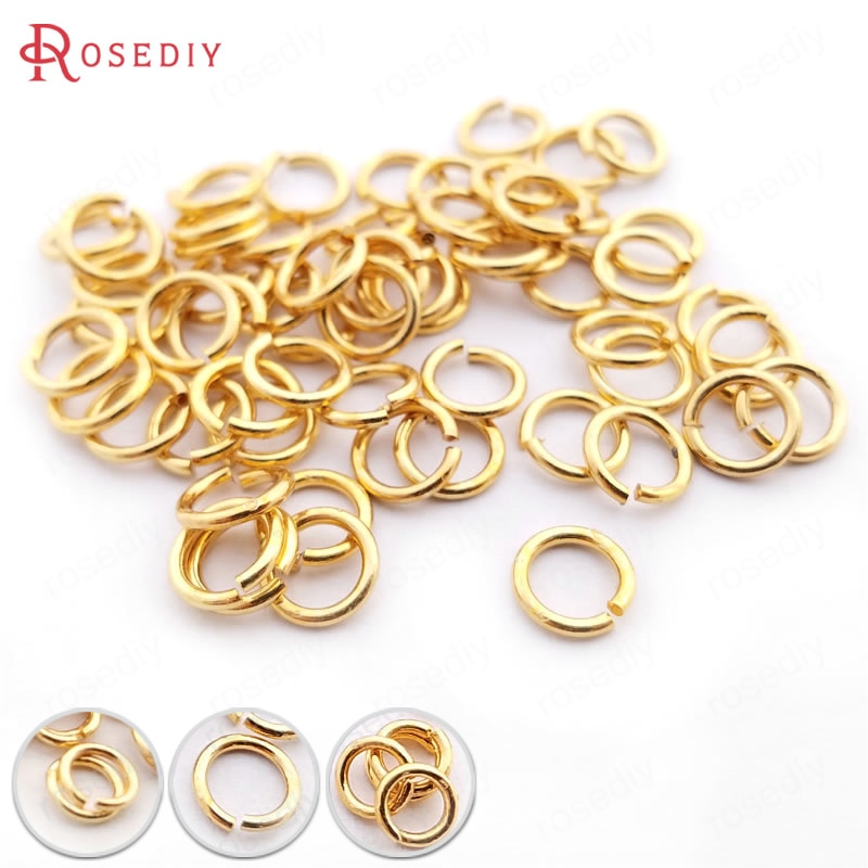 10g 3*0.5MM 4*0.7MM 5*0.8MM 6*0.9MM 8*1.2MM 10*1.2MM 24K Gold Color Jump Rings Split Jewelry Making Supplies