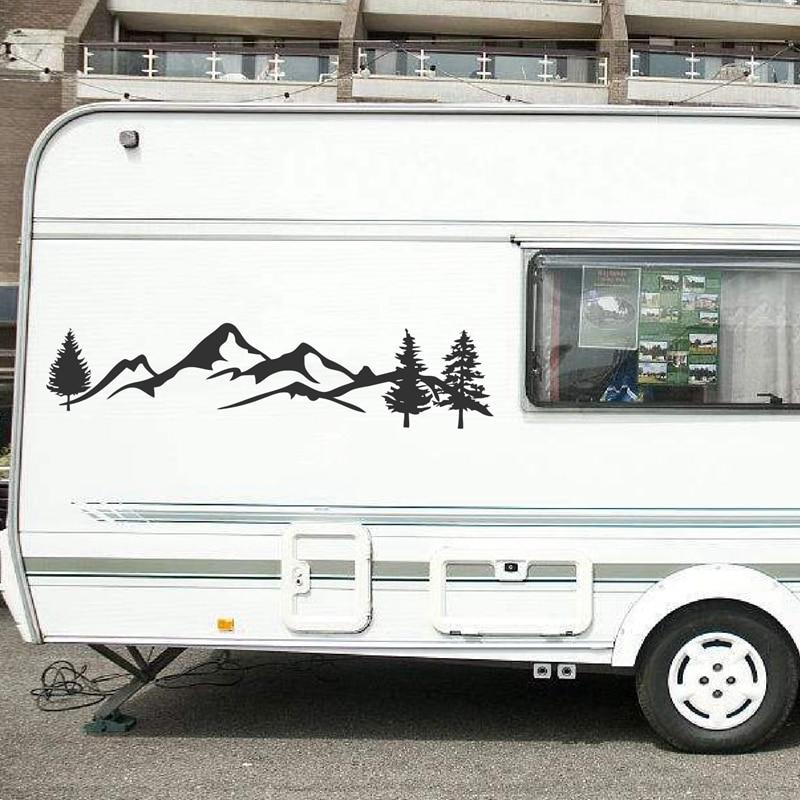 Mountain Tree Forest Graphic Vinyl Art Sticker For RV Decoration Forest Silhouette Decals Camper Vehicle Window Door Decor