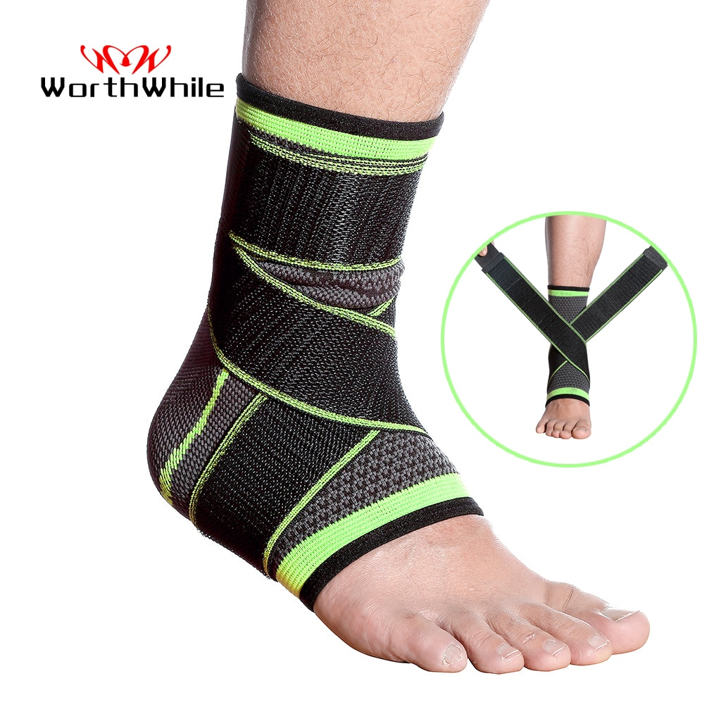 WorthWhile 1 PC Sports Ankle Brace Compression Strap Sleeves Support 3D Weave Elastic Bandage Foot P