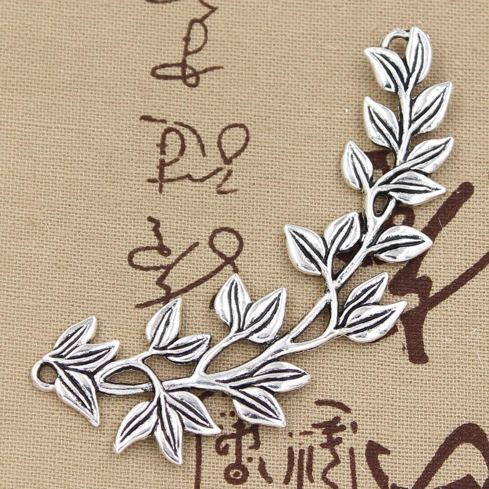 2 peças encantos ramos de azeitona, pingente antigo de 87x38mm, vintage tibetano cor de prata bronze, faça você mesmo para jóias feitas à mão