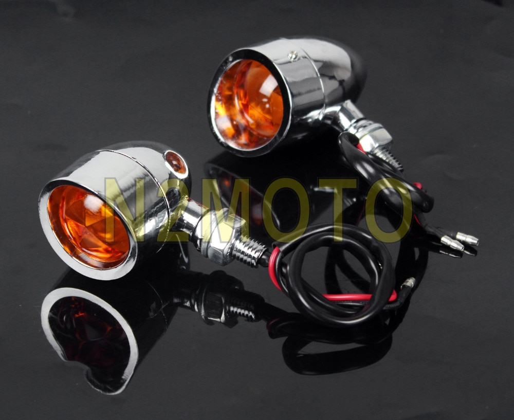 De Metal de cromo Luz de señal de giro para motocicleta bombilla 12V 10W indicador luz intermitente para Harley rellenó el crucero Bobber de luz