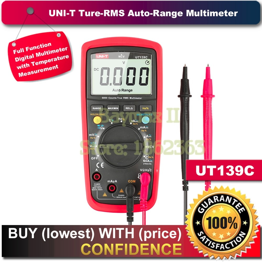 "UNI-T UT139C valores eficaces verdaderos 2,6 ""LCD multímetro Digital eléctrica de mano de Multimetro medidor de LCR amperímetro Multitester"
