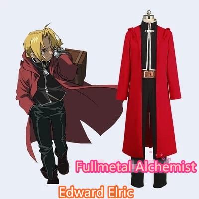 Anime! Fullmetal Alchemist Edward Elric Unisex Conjunto Completo Traje Cosplay Uniforme casaco + top + calça + cinto * 2 Livre grátis