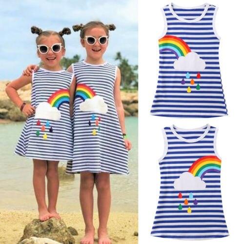 Śliczne dzieci dziecko dziewczyna siostra księżniczka strona korowód letnia sukienka w paski tęczowy bez rękawów sukienka 1-6Y rozmiar pasuje mniejszy niż zwykle