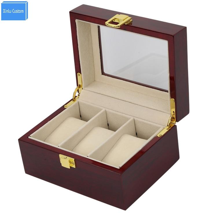 Luxury Wood Glossy Lacquer 3 Grids Watch Box&Case 3 Display Jewelry PVC Window Top Organizer Custom Watch Boxees logo