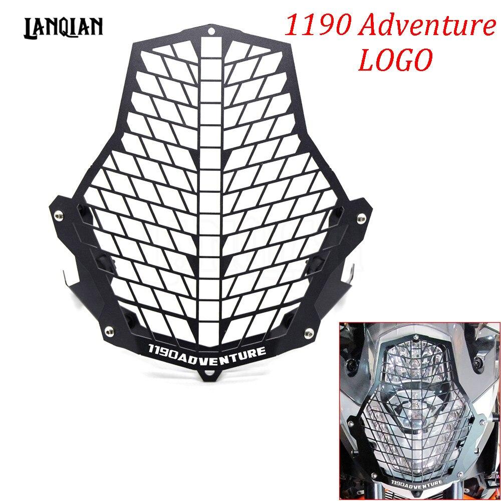 Para KTM 1190 Adventure/ADV, accesorios para motocicleta, Protector de faro delantero, cubierta protectora de lámpara de acero inoxidable, todos los años con logotipo