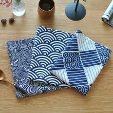 40*70cm Sektor Plaid Meer Wellen Japanischen Stil Matte Serviette Dessert Tisch Servietten Tee Handtücher Küche Geschirrtuch Tischsets