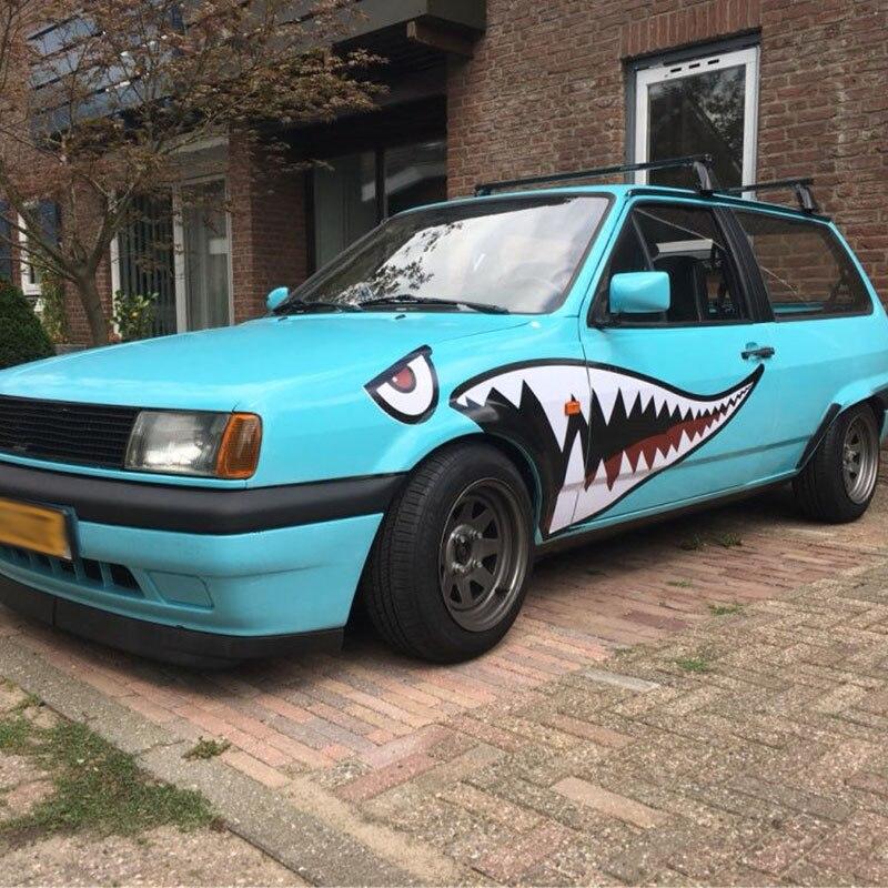 Cuerpo del coche tiburón pegatina Auto tiburón dientes modificación pegatina barco modificado coche calcomanía diseño fresco tiburón pegatina de Boca 1 par