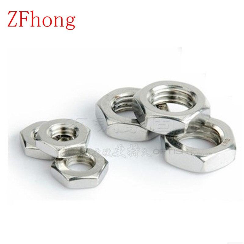 50 uds/20 piezas delgada tuerca DIN439 M2 M2.5 M3 M4 M5 M6 M8 M10 acero inoxidable 304 tuerca hexagonal delgada