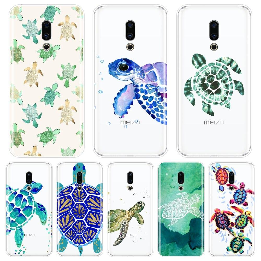 Funda trasera para Meizu 15 Lite 16 Plus 16x 16x verde azul tortuga Animal suave funda de silicona Teléfono para Meizu U10 U20 Pro 6 7 Plus