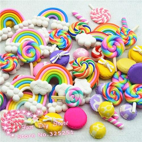 Леденец из полимерной глины, конфеты, Радужный пудинг, пакеты в ассортименте, домашние игрушки для кукольного домика, миниатюры 50 шт./лот 30-50 мм