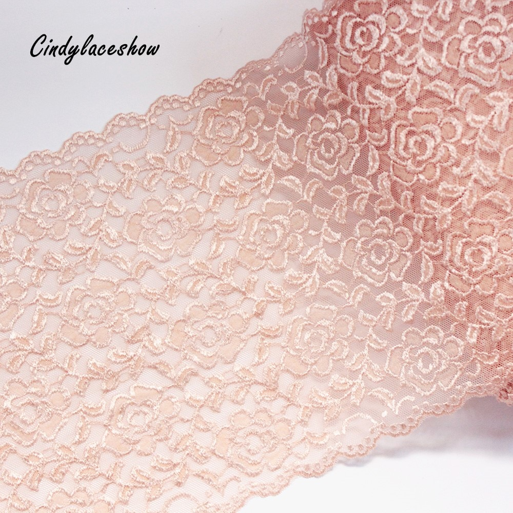 Нейлоновая эластичная кружевная отделка для самостоятельного изготовления, аксессуары пошива одежды, эластичная французская сетка с аппликацией, цвет кожи, 1 ярд, 22 см