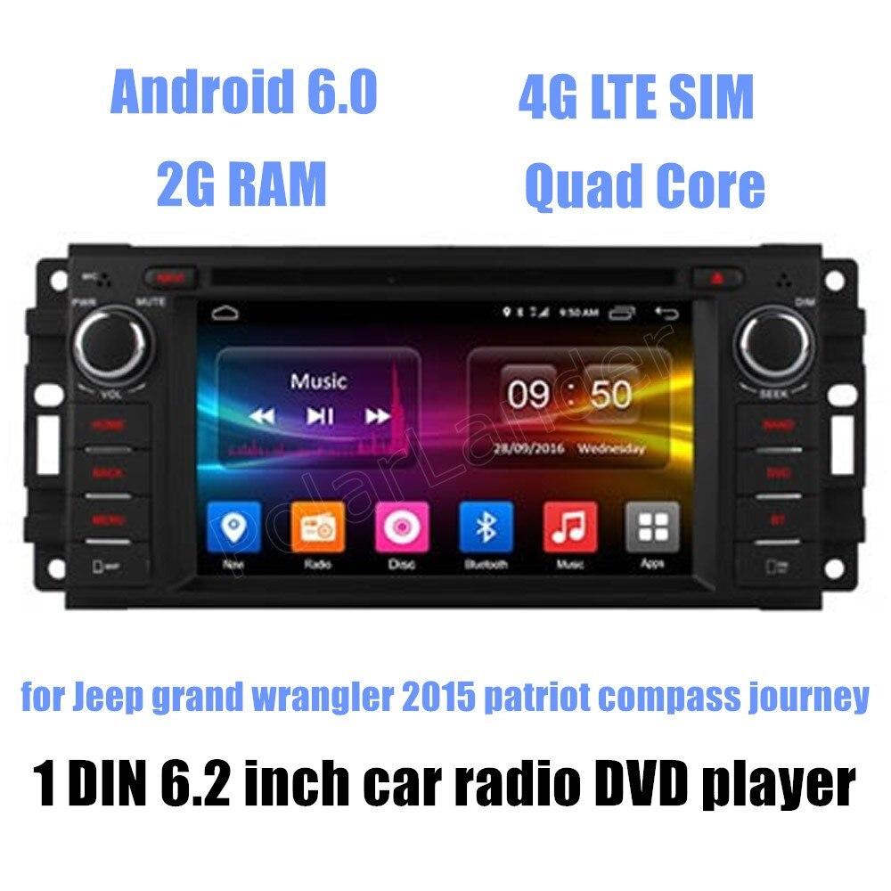 1 din 6,2 pulgadas Quad Core Android 6,0 J/eep g/rand w/rangler 2015 patriot brújula viaje coche reproductor de DVD radio GPS