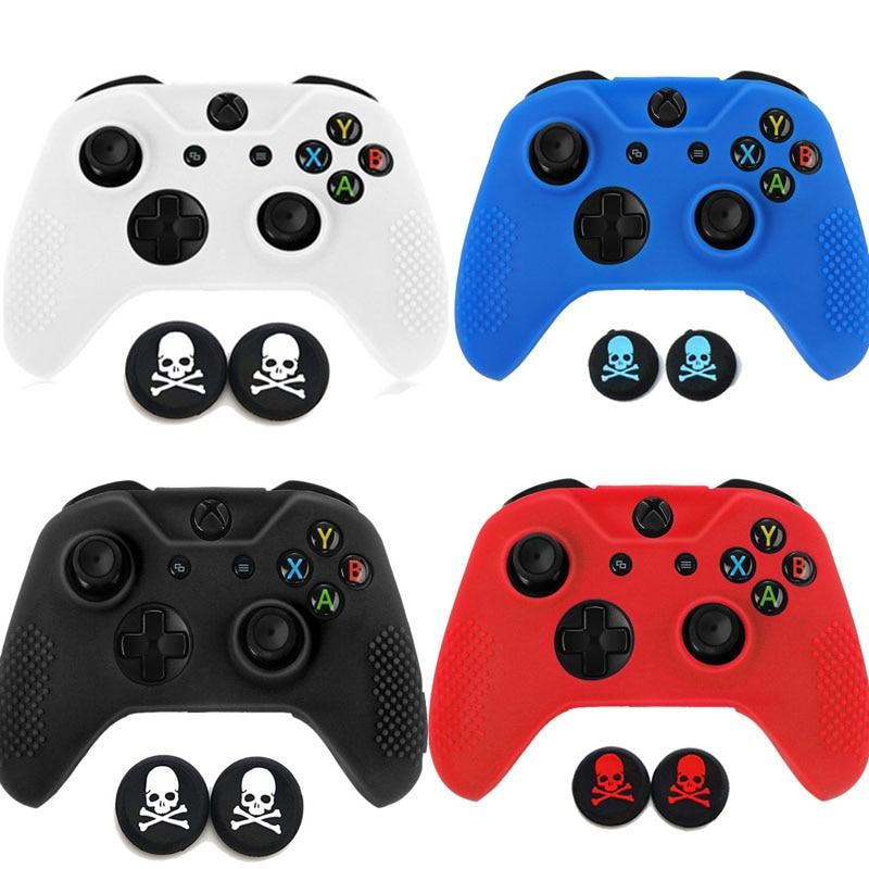 Gamepad caso Joystick de proteccción de goma cubierta de la caja de la piel libre de gorros para Microsoft Xbox one X S X Slim controlador