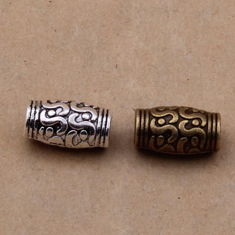 20 pçs/lote 3mm Buraco Tubo de Metal Spacer Beads para Jewelry Making Achados Grande Buraco Grânulos de Charme Pulseira para DIY Handmade