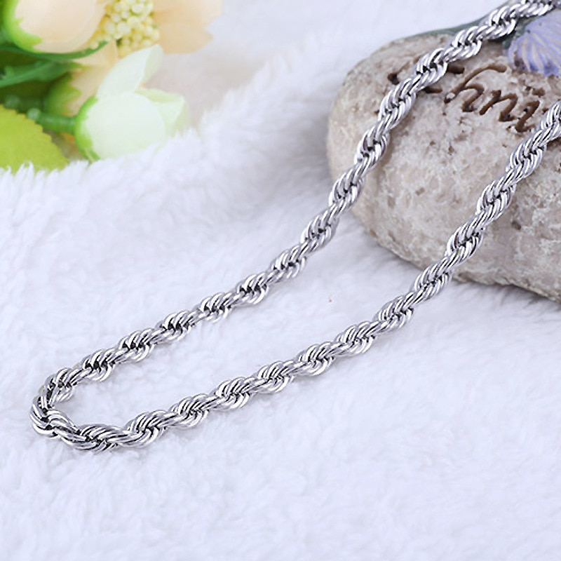 Купить с кэшбэком New silver plated 4MM Twist Rope chains Choker necklaces with stamped For women Men Fashion Jewelry Drop Shipping