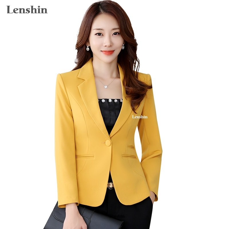 Lenshin chaqueta de alta calidad recta y chaqueta Lisa estilo de oficina para mujer abrigo Formal de negocios Color caramelo Tops pesados