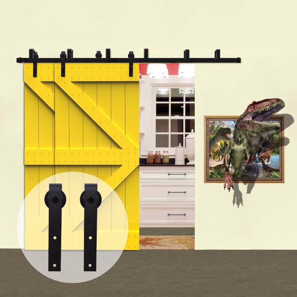 Система отключения деревянных дверей в деревенском стиле LWZH, комплект оборудования для раздвижных дверей сарая, черные J-образные ролики дл...