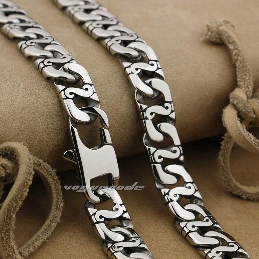 "LINSION 18"" ~ 36"" 316L Stainless Steel Mens Biker Rocker Punk Necklace Chain 5A023N"