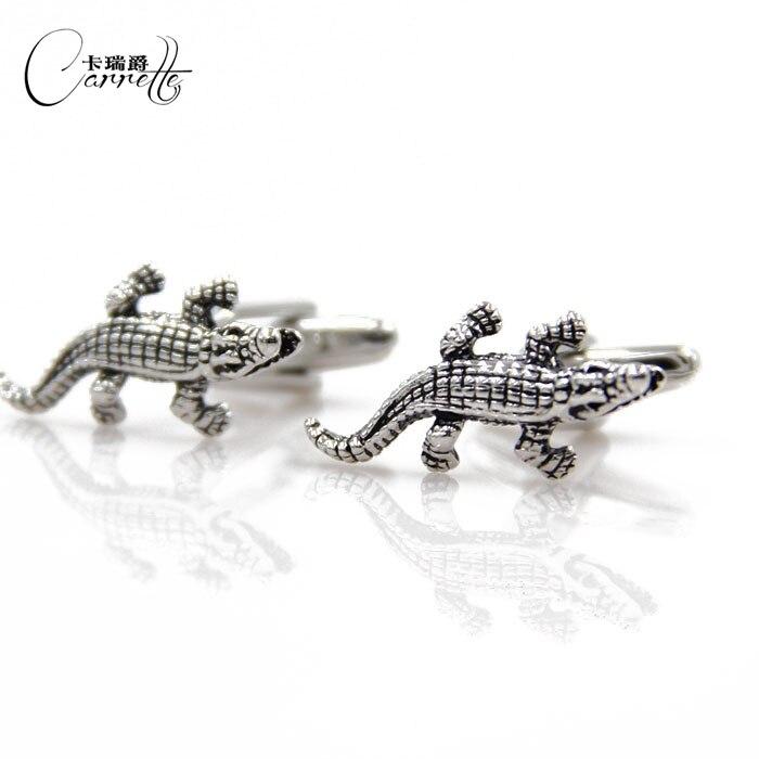 Nova série animal crocodilo divertido modelagem abotoaduras Francês manguito abotoaduras unhas