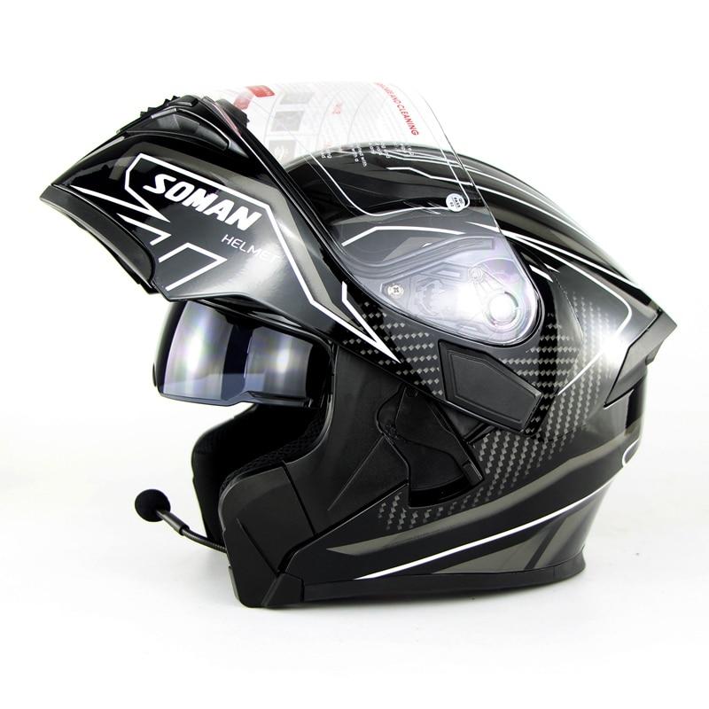 DOT-casco para motocicleta, con doble Visor, máscara completa abatible hacia arriba, casco para Moto Capacete, casco con Bluetooth