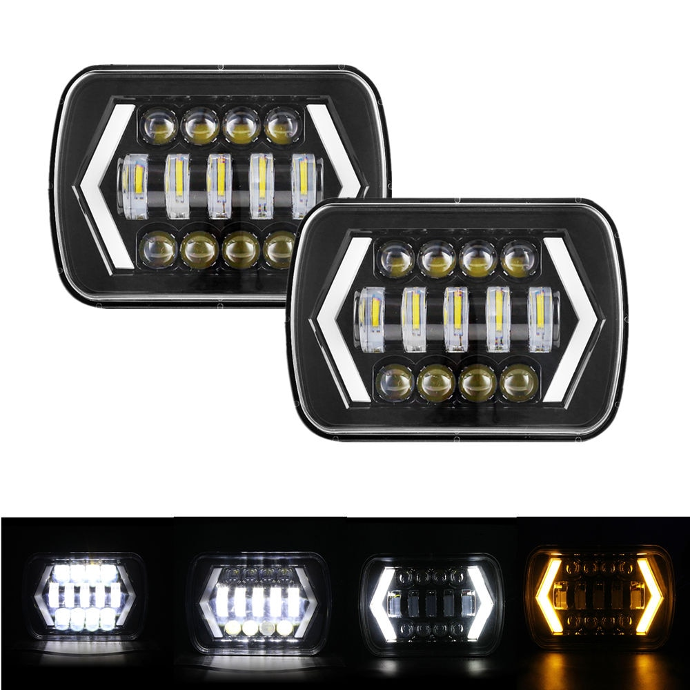 "5 ""X 7"" 6X7inch cuadrado LED luz negro Rectangular faro para Jeep Wrangler XJ MJ camión 4x4 flecha DRL Off Road 5x7 faros"