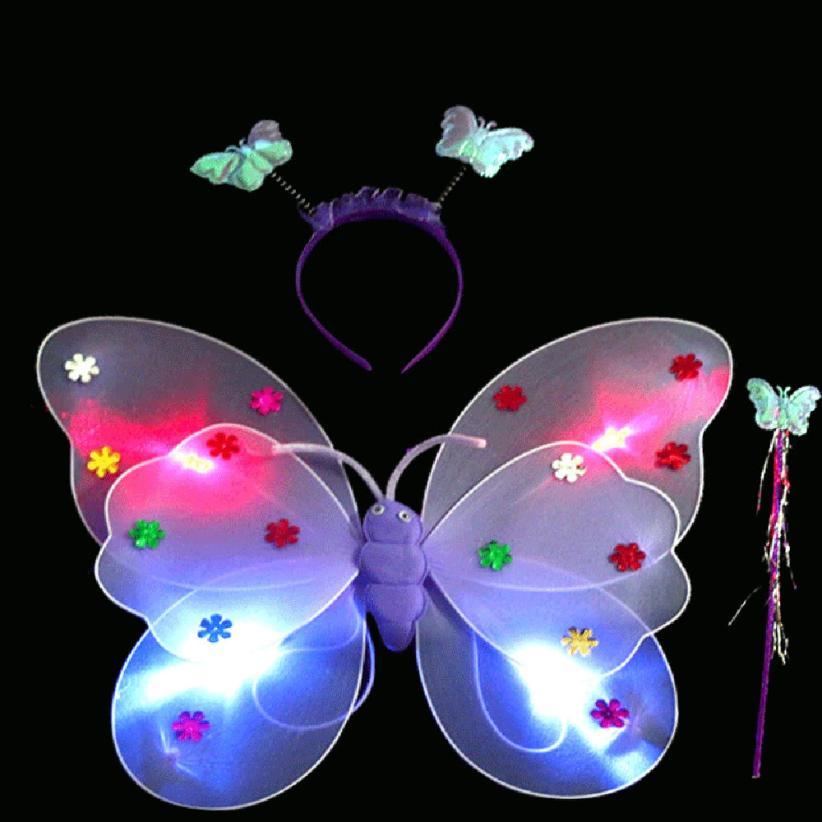3 unids/set niñas luz intermitente LED Hada mariposa Wand diadema traje de juguete Cherryb