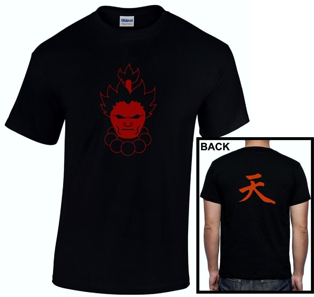 Akuma Gouki infinito símbolo inmortal luchador Gaming Unisex camiseta más nueva 2018 camiseta hombres O cuello Camiseta de algodón camiseta de impresión