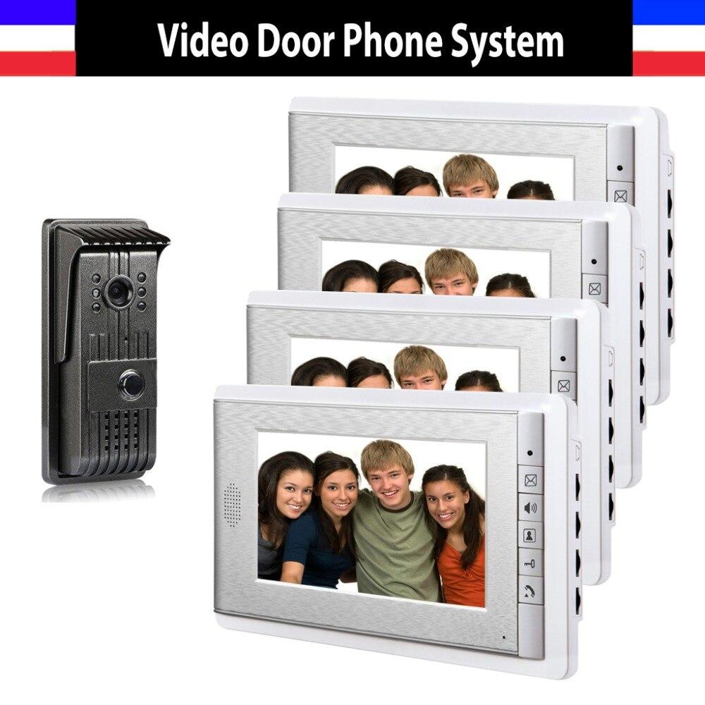 Видеодомофон, 1 камера, 4 монитора, 7 дюймов, домофон, дверной звонок с ночным видением, цветной проводной видеодомофон, домофон